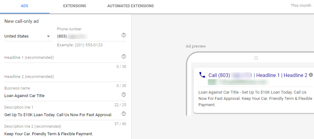 Google ads Pay per call