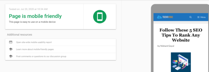 Google Mobile Responsive Testing Result